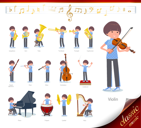 A set of women in sportswear on classical music performances.There are actions to play various instruments such as string instruments and wind instruments.It's vector art so it's easy to edit. Vettoriali