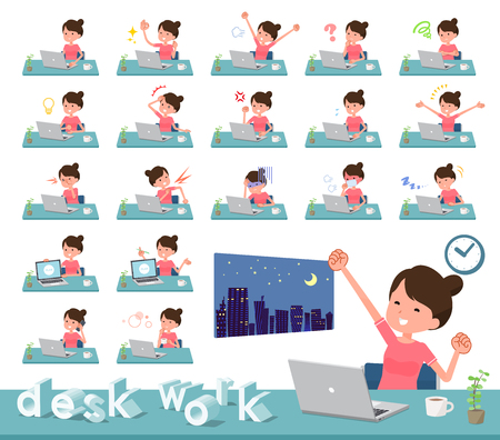 A set of women in sportswear on desk work.There are various actions such as feelings and fatigue.It's vector art so it's easy to edit.