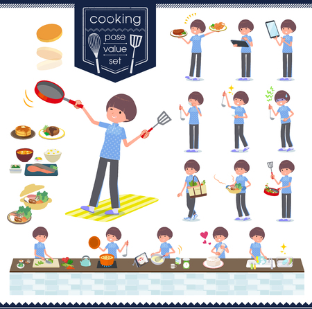 A set of women in sportswear about cooking.There are actions that are cooking in various ways in the kitchen.It's vector art so it's easy to edit.