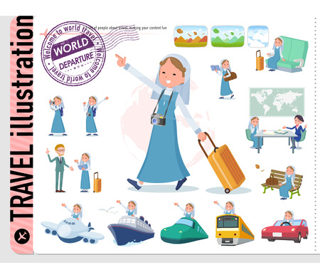 A set of Nun women on travel.There are also vehicles such as boats and airplanes.It's vector art so it's easy to edit.  イラスト・ベクター素材
