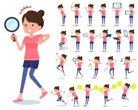 A set of women in sportswear with digital equipment such as smartphones.There are actions that express emotions.Its vector art so its easy to edit.