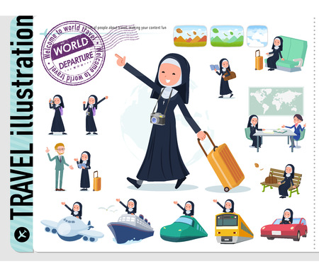 A set of Nun women on travel.There are also vehicles such as boats and airplanes.It's vector art so it's easy to edit. 免版税图像 - 112647309