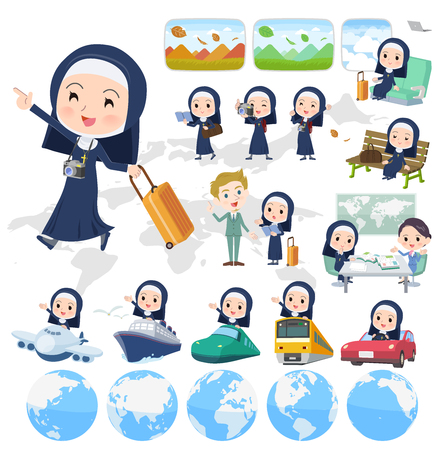 A set of Nun women on travel.There are also vehicles such as boats and airplanes.It's vector art so it's easy to edit. Illustration