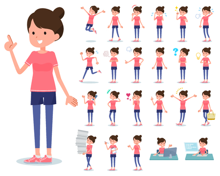 A set of women in sportswear with who express various emotions.There are actions related to workplaces and personal computers.It's vector art so it's easy to edit. Illustration