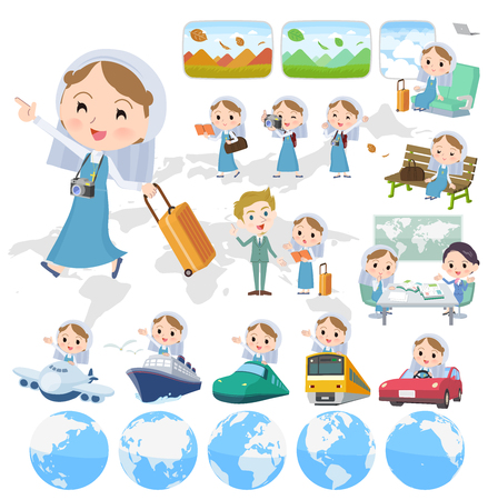 A set of Nun women on travel.There are also vehicles such as boats and airplanes.Its vector art so its easy to edit. Illustration