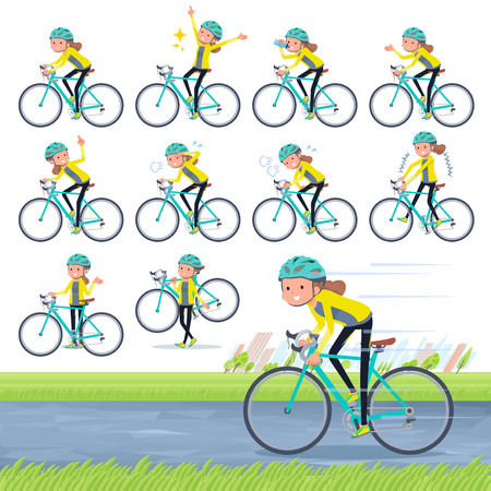 A set of women in sportswear on a road bike.There is an action that is enjoying.It's vector art so it's easy to edit. Çizim