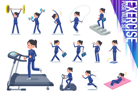 A set of women in sportswear on exercise and sports.There are various actions to move the body healthy.Its vector art so its easy to edit. Illustration