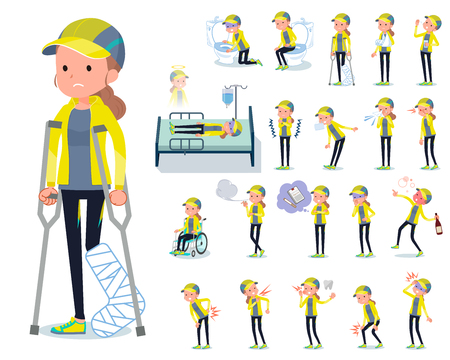 A set of women in sportswear with injury and illness.There are actions that express dependence and death.It's vector art so it's easy to edit.