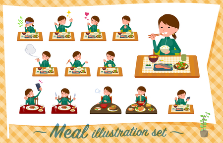 A set of women in sportswear about meals.Japanese and Chinese cuisine, Western style dishes and so on.Its vector art so its easy to edit.