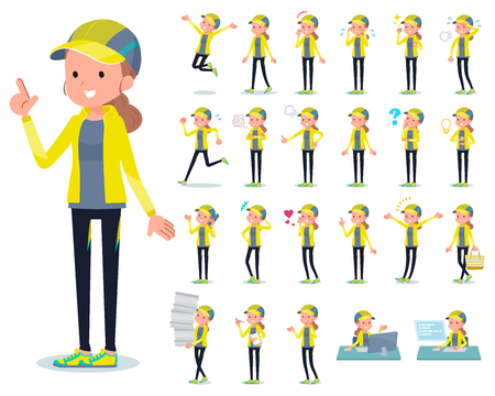 A set of women in sportswear with who express various emotions.There are actions related to workplaces and personal computers.It's vector art so it's easy to edit. Stock Illustratie