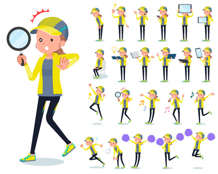 A set of women in sportswear with digital equipment such as smartphones.There are actions that express emotions.It's vector art so it's easy to edit. 向量圖像