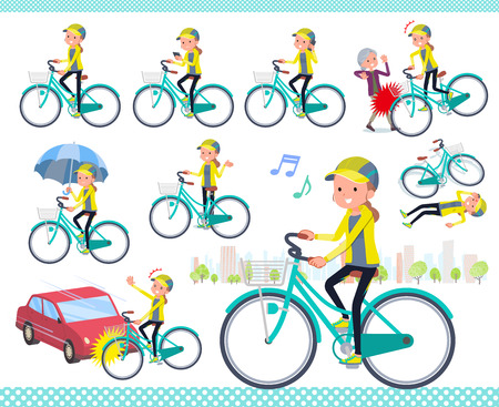 A set of women in sportswear riding a city cycle.There are actions on manners and troubles.It's vector art so it's easy to edit. Stockfoto - 124040448