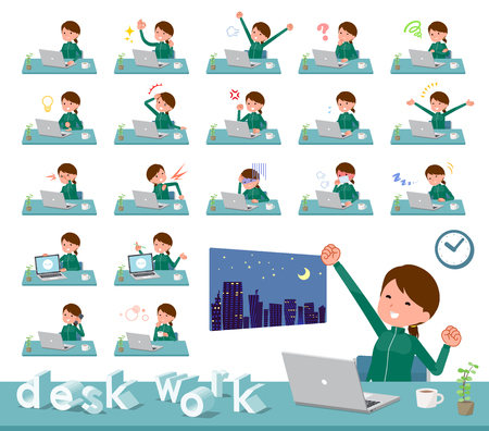 A set of women in sportswear on desk work.There are various actions such as feelings and fatigue.It's vector art so it's easy to edit. Stock Vector - 124040457