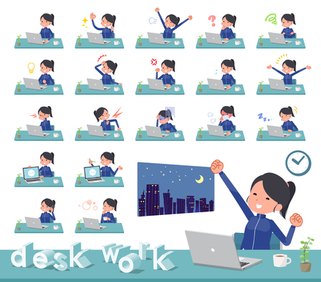 A set of women in sportswear on desk work.There are various actions such as feelings and fatigue.It's vector art so it's easy to edit. Stock Vector - 124040462