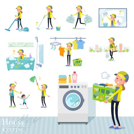 Eine Reihe von Frauen in Sportbekleidung im Zusammenhang mit der Haushaltsführung wie Reinigung und Wäsche. Es gibt verschiedene Aktionen wie die Kindererziehung. Es handelt sich um Vektorgrafiken, die leicht zu bearbeiten sind.