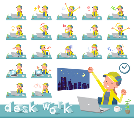 A set of women in sportswear on desk work.There are various actions such as feelings and fatigue.Its vector art so its easy to edit. Illustration