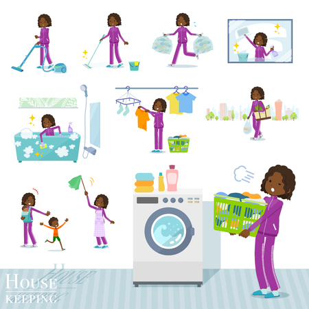 A set of women in sportswear related to housekeeping such as cleaning and laundry.There are various actions such as child rearing.It's vector art so it's easy to edit.