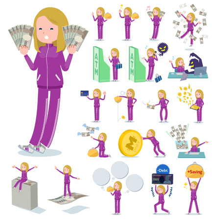 A set of women in sportswear with concerning money and economy.There are also actions on success and failure.It's vector art so it's easy to edit.  イラスト・ベクター素材
