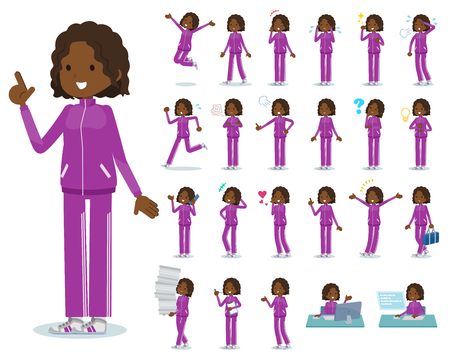 A set of women in sportswear with who express various emotions.There are actions related to workplaces and personal computers.Its vector art so its easy to edit.