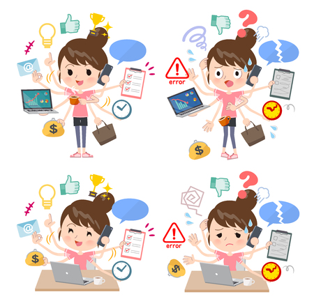 A set of women in sportswear who perform multitasking in the office.There are things to do smoothly and a pattern that is in a panic.Its vector art so its easy to edit.