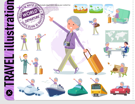 A set of old women in sportswear on travel.There are also vehicles such as boats and airplanes.Its vector art so its easy to edit.