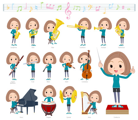 A set of women in sportswear on classical music performances.There are actions to play various instruments such as string instruments and wind instruments.It's vector art so it's easy to edit.