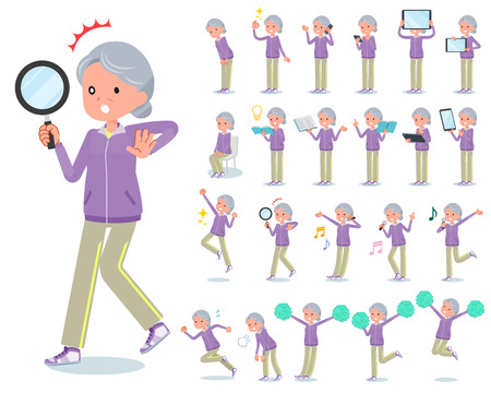 A set of old women in sportswear with digital equipment such as smartphones.There are actions that express emotions.Its vector art so its easy to edit.
