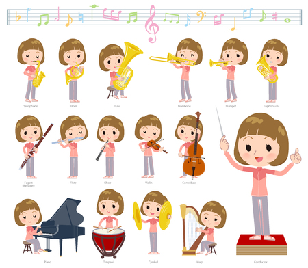 A set of women in sportswear on classical music performances.There are actions to play various instruments such as string instruments and wind instruments.Its vector art so its easy to edit.