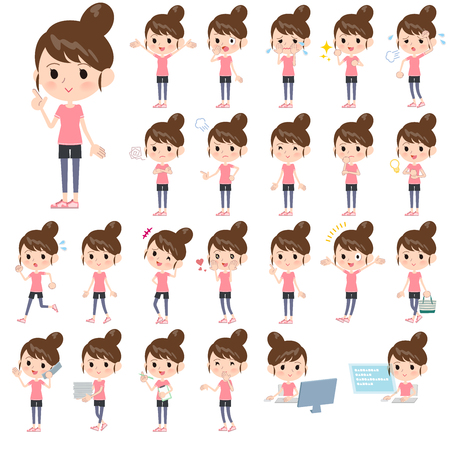 A set of women in sportswear with who express various emotions.There are actions related to workplaces and personal computers.It's vector art so it's easy to edit.