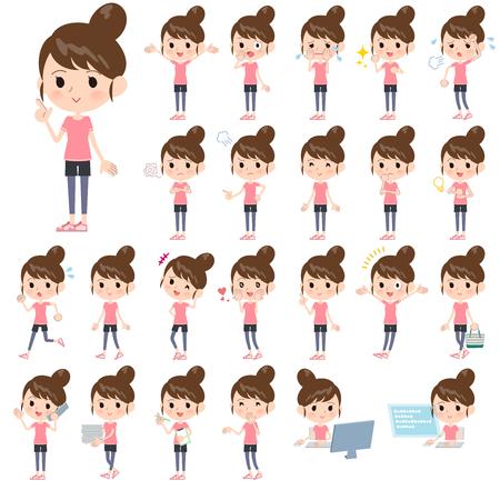 Un conjunto de mujeres en ropa deportiva con las que expresan diversas emociones. Hay acciones relacionadas con los lugares de trabajo y las computadoras personales. Es arte vectorial por lo que es fácil de editar. Ilustración de vector