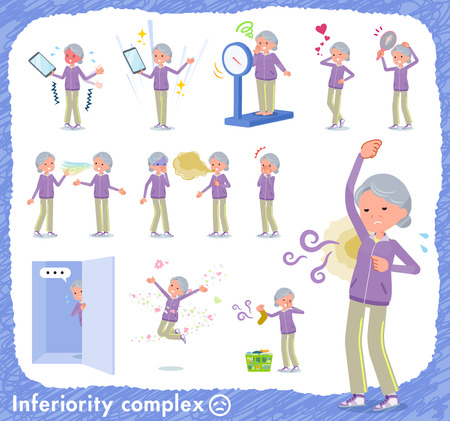 A set of old women in sportswear on inferiority complex.There are actions suffering from smell and appearance.It's vector art so it's easy to edit.