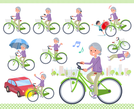 A set of old women in sportswear riding a city cycle.There are actions on manners and troubles.Its vector art so its easy to edit.