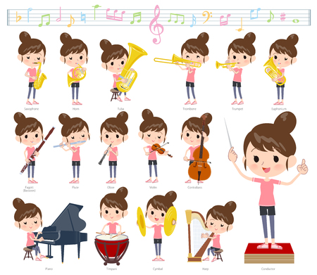 A set of women in sportswear on classical music performances.There are actions to play various instruments such as string instruments and wind instruments.It's vector art so it's easy to edit. Ilustração