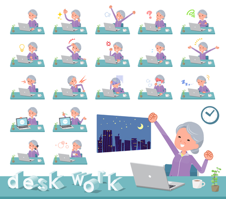 A set of old women in sportswear on desk work.There are various actions such as feelings and fatigue.It's vector art so it's easy to edit.