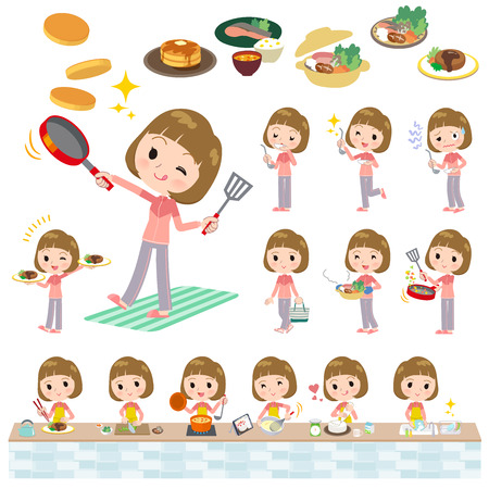A set of women in sportswear about cooking.There are actions that are cooking in various ways in the kitchen.Its vector art so its easy to edit.