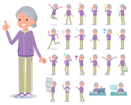 A set of old women in sportswear with who express various emotions.There are actions related to workplaces and personal computers.Its vector art so its easy to edit.