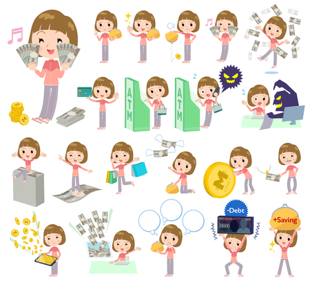 A set of women in sportswear with concerning money and economy.There are also actions on success and failure.It's vector art so it's easy to edit. Vetores