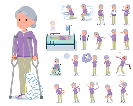 A set of old women in sportswear with injury and illness.There are actions that express dependence and death.It's vector art so it's easy to edit.
