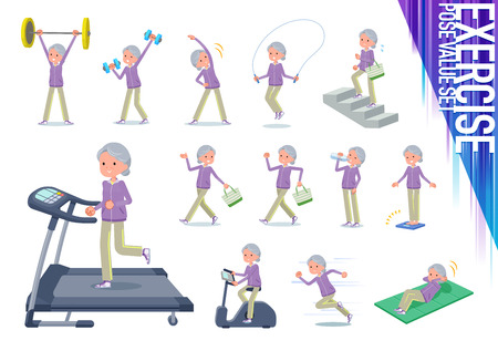 A set of old women in sportswear on exercise and sports.There are various actions to move the body healthy.Its vector art so its easy to edit.