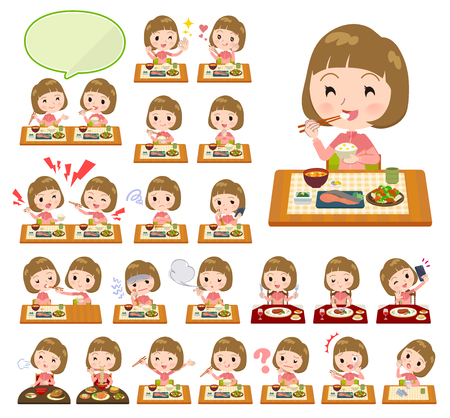 A set of women in sportswear about meals.Japanese and Chinese cuisine, Western style dishes and so on.It's vector art so it's easy to edit.