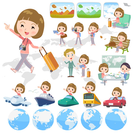 A set of women in sportswear on travel.There are also vehicles such as boats and airplanes.It's vector art so it's easy to edit.