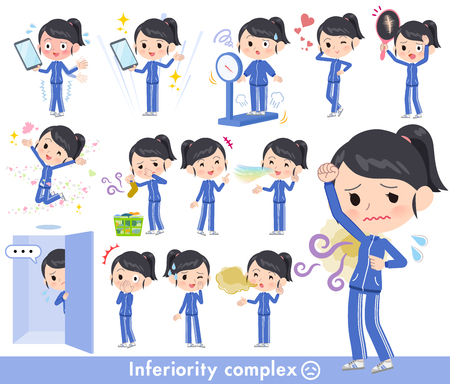 A set of women in sportswear on inferiority complex.There are actions suffering from smell and appearance.It's vector art so it's easy to edit.