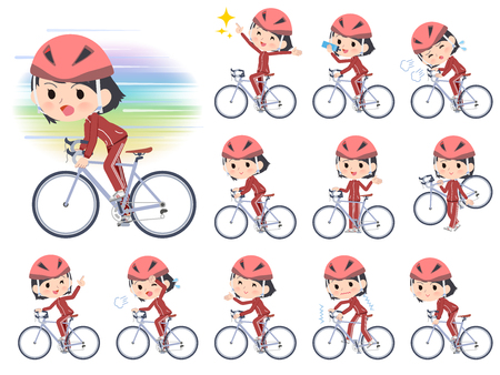 A set of women in sportswear on a road bike.There is an action that is enjoying.It's vector art so it's easy to edit.  イラスト・ベクター素材