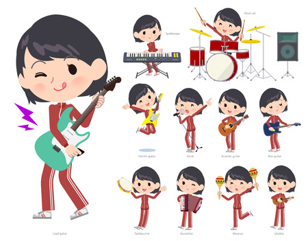 A set of women in sportswear playing rock 'n' roll and pop music.There are also various instruments such as ukulele and tambourine.It's vector art so it's easy to edit.