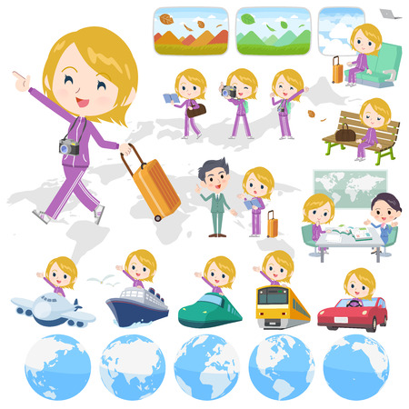 A set of women in sportswear on travel.There are also vehicles such as boats and airplanes.Its vector art so its easy to edit.