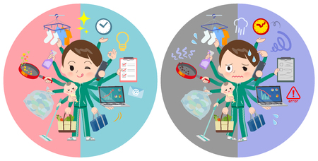 A set of women in sportswear who perform multitasking in offices and private.There are things to do smoothly and a pattern that is in a panic.It's vector art so it's easy to edit. Çizim