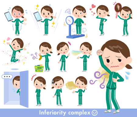 A set of women in sportswear on inferiority complex.There are actions suffering from smell and appearance.Its vector art so its easy to edit.
