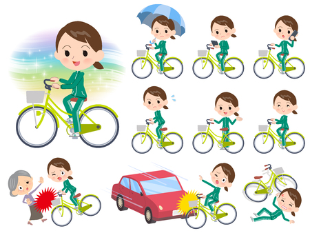 A set of women in sportswear riding a city cycle.There are actions on manners and troubles.It's vector art so it's easy to edit.