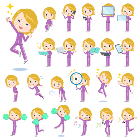 A set of women in sportswear with digital equipment such as smartphones.There are actions that express emotions.It's vector art so it's easy to edit.