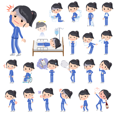 A set of women in sportswear with injury and illness.There are actions that express dependence and death.Its vector art so its easy to edit.  イラスト・ベクター素材